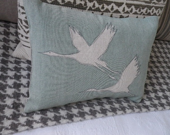 hand printed robins egg blue wading  bird pair  cushion