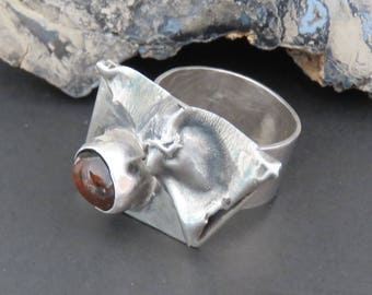 Sterling silver ring, fire agate, size 7 3/4, vintage, brutalist, handmade, 10.3 grams