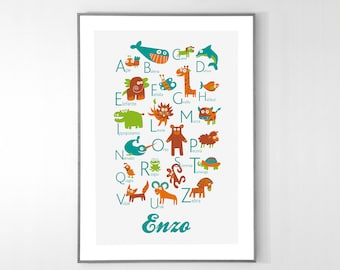 Personalized ITALIAN Alphabet Poster with animals from A to Z, BIG POSTER 13x19 inches