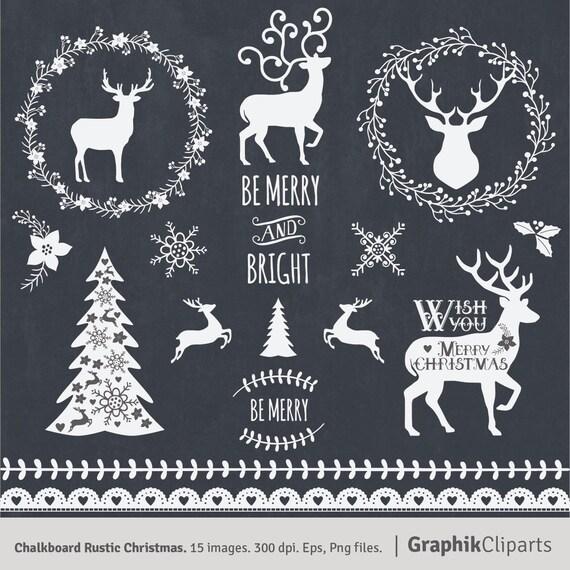 Chalkboard Rustic Christmas Clipart