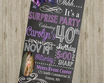 Vintage Surprise Birthday Invitation with Photo **Digital Image Only** 40th, 50th, 60th, 70th, 80th
