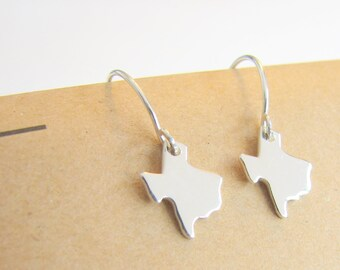Custom Sterling Silver Tiny State Charm Earrings Small State Charm Dangle Earrings Under 25 Gift for Women Bridesmaids Sister Best Friend