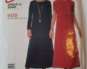 Easy Stitch 'n Save McCall's sewing pattern 9439 Misses' Dress in size 14, 16, 18, 20