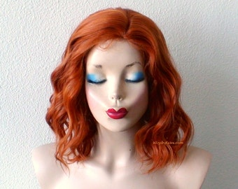 Ginger orange wig. Beach wavy hairstyle short  orange wig. Quality synthetic wig for daytime use or Cosplay