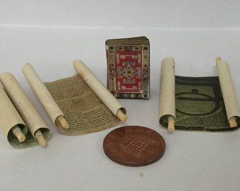 1/12th Lindersfarn Gospel, with Aged Scrolls and Real Printed Pages!