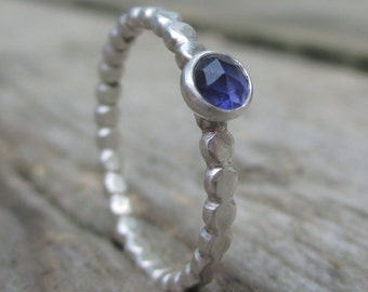 Rose Cut Iolite Gemstone Ring. Sterling and Fine Silver. Dotted Band.