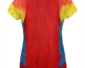 Halloween Scarlet Macaw Parrot Feathers Costume All Over Womens T Shirt
