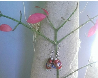 SALE Red Glass Lampwork beaded Earrings