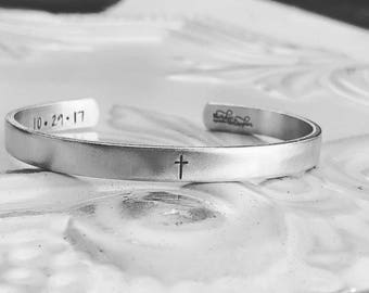 Cross Cuff Bracelet - Hand Stamped Cuff Bracelet - Inspirational Bracelet - Religious Jewelry - Baptismal Gift - Personalized Gift Christian
