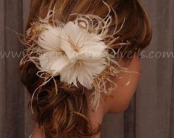 Feather Flower, Bridal Veil Birdcage Fascinator, Vanilla & Honey Ivory Champagne - Sophia
