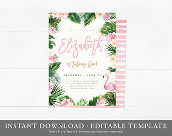 Tropical Love Flamingo  Birthday Invitation Card  | Instant Download, Editable, Printable | Summer, Tropical, Hawaiian | DC023