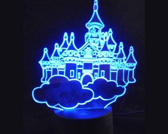 Flying Castle 7 Color Changing LED 3D Effect Light - Childrens Night Light Decorative Night Light