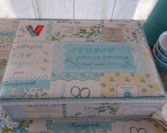 "DIY kit writing or sewing box A4 of 13"" x 9.3"" x 3.4"", cartonnage fabric covered"