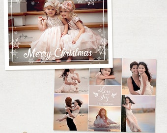 Christmas Card Template - for Photographers and Personal Use - 5x7 Holidays Photo card Template - 032 - ID252