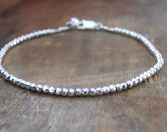Sterling Silver Beads Bracelet, Delicate Silver Bracelet, Minimalist Beads Bracelet, Beaded Silver Bracelet, Disco Ball Beads Bracelet, #540