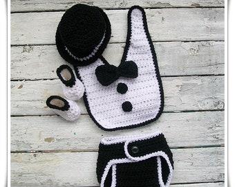 Crochet Pattern,  Baby tuxedo pattern, Baby crochet pattern, Newborn crochet, PDF Pattern, Boys tuxedo set, Crochet tuxedo