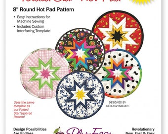 "Rounded Folded Star Hot Pad Pattern, 8"" Round Hot Pad Pattern"