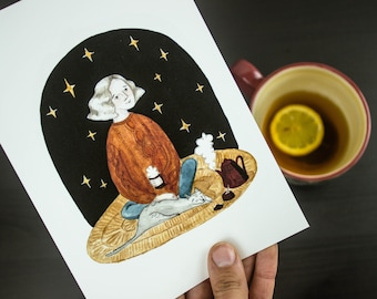 Lady and her cat under a starry sky A5 / A4 fine art giclee print