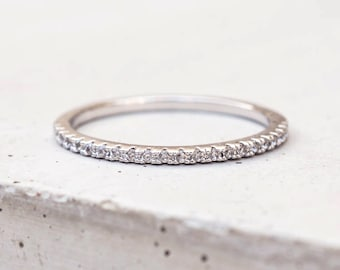 Thin 1.4mm Eternity Band Ring - Half Band Or Full Band Stacking Ring - Silver