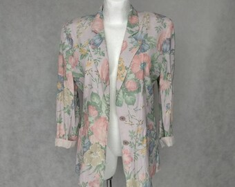 Vintage Floral Jacket, Small Size Jacket, Pastel Floral Blazer, 80s Summer Jacket, Small Fitted Jacket,