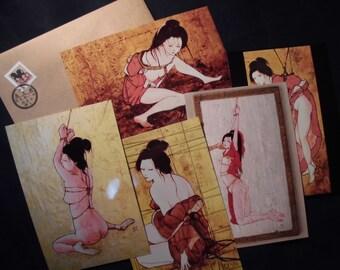"""Japanese Erotic Art """"Kinbaku No.01"""" 5 Cards,1 Envelope"""