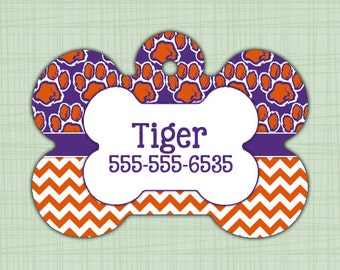 Custom Pet ID Tag Clemson Tigers, Personalized Dog Tag, Identification name tag, Cat Tag, Lunch Box Tag, Bag Tag