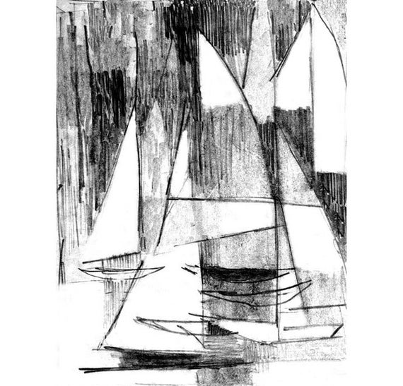 Abstract sailboats regatta pencil drawing modern pencil art