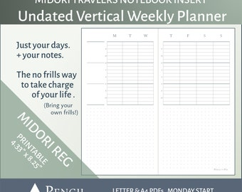 Undated MTN Vertical Weekly Insert - Design D - Midori Traveler's Notebook Printable