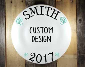 Family Name Plate, Custom Personalized Family Plate, Holiday Signature Plate, Holiday Keepsake Plate, Hostess Gift Plate, Holiday Plate