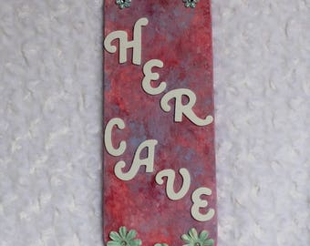 Pink Altered Fan Blade Her Cave Sign, Repurposed Wall Art, Mother's Day Gift, Upcycled Wall Decor, Babe Cave Decor, She Cave Decor, She Shed