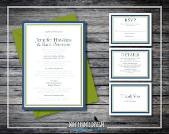 Simple Elegant Printable Wedding Invitation - Rumi Poem Invitation - Navy Blue, Olive Green Invitation - Custom Colors