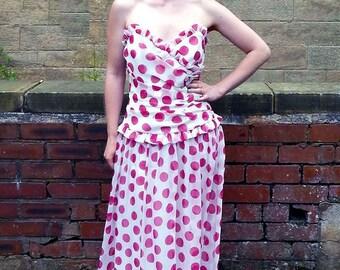 Original Designer Vintage 1970s Jean Allen Polka Dot Prom Dress UK Size 10