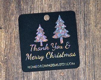 Glitter Metallic Silver Christmas Trees Winter Thank You Tags  - Customized - Gift Tags - Shinny Metallic