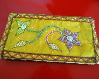 Burma embroidered velvet pouch