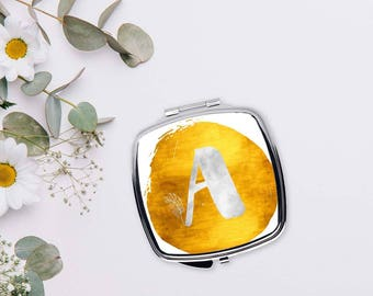 Monogram compact mirror, Gold watercolor mirror, Romantic gifts for women, Personalized pocket mirror, Initial Bridesmaid gift, CMin001-11