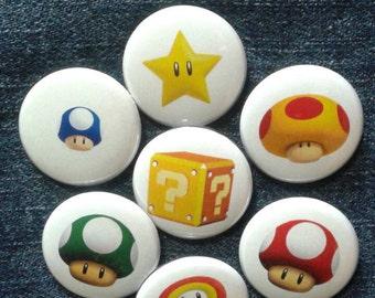 "Super Mario Bros. Power-ups button set 1"" pinback Luigi Yoshi Goomba Bowser"