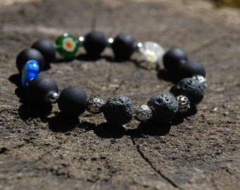 Black & Floral beaded bracelet/ lava bead bracelet/ essential oil/ beaded bracelet/ stress relieving bracelet