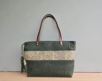 Monogrammed Waxed Canvas Tote with Southwestern Accent in Green, Personalized Tote Bag in 2 Sizes, Large Boho Look Zipper Tote with Tassel