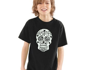 Kids Day Of The Dead Sugar Skull Glow In The Dark T-Shirt Black Boys / Girls Childrens