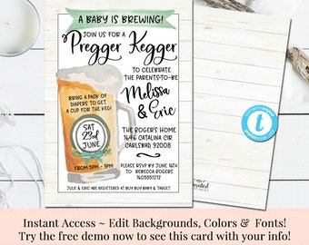 Pregger Kegger, Baby Shower Invitation,  Beer Baby Shower Invitation, Printable DIY, Instant Download, Editable Invitation, Couples Invite