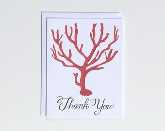 Red Coral - Thank You - Note Card