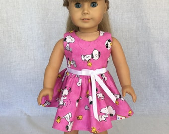 Snoopy doll dress - 18 inch  doll dress - summer doll clothes - fits the American Girl, Our Generation and other 18 inch dolls.