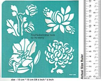 Flower stencil, Stencil, Stencil for Painting, Craft Stencil, Wall Stencil,Decor Stencil, DIY Stencil, Vinyl, Pattern, Fabric, Canvas, Glass