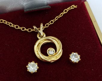 Vintage Old Stock Rhinestone Circle Pendant Necklace and Gold Tone Earrings Set