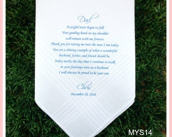 Father of the Groom Hankerchief from the Groom-Wedding Handkerchief-PRINTED-CUSTOMIZE-Wedding hankies-Wedding Gift-Father of the groom gift