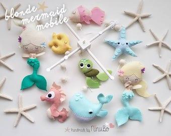Mermaid Baby Mobile - Cot Mobile - Crib Mobile- Girls Mobile - Princess Mobile - Ocean Mobile - Sea Creatures Mobile - Whale Mobile