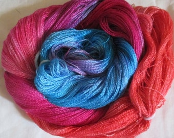 Hand dyed Tencel Yarn - 900 yds. Lace Wt. Tencel Yarn  CORALLINE