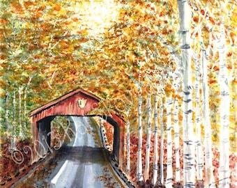 Limited Edition, Sleeping Bear Dunes ,Covered Bridge,Birch Trees, Autumn Colors, Lake Michigan, Interior Design  Fine Art
