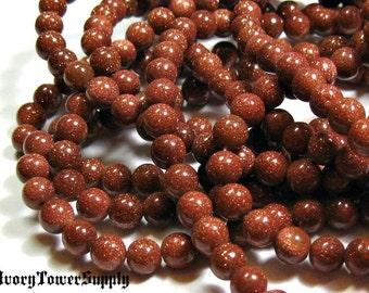 1 Strand 6mm Goldstone Beads