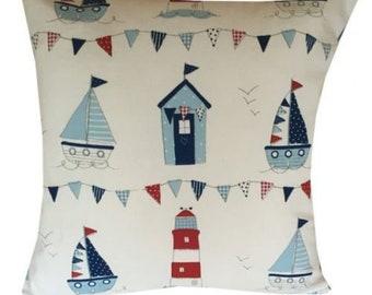 Designer handmade nautical seaside beach white boat red blue bunting cushion cover